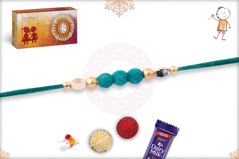 3 Turquoise Green Velvet Bead Rakhi 1