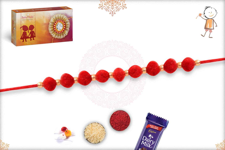 Delicate Red Velvet Bead Rakhi 2