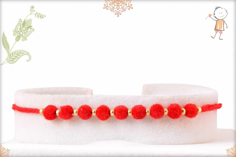 Delicate Red Velvet Bead Rakhi 1