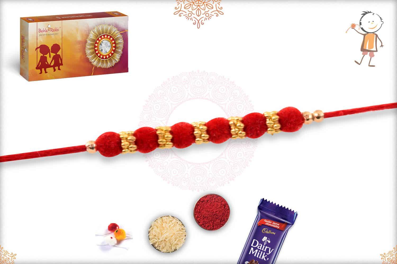 Delicate Red Velvet Bead Rakhi with Golden Rings 2