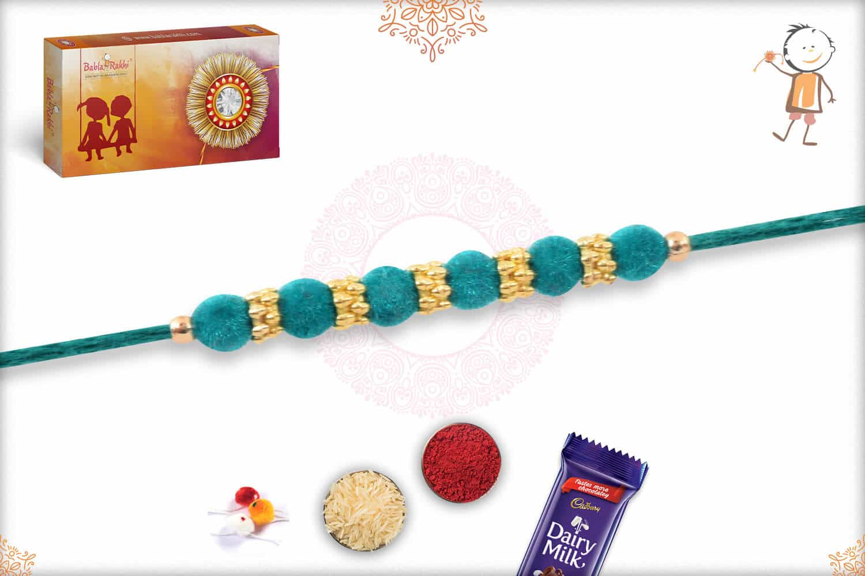 Simple Turquoise Green Velvet Bead Rakhi 2