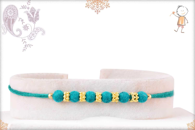 Simple Turquoise Green Velvet Bead Rakhi 1