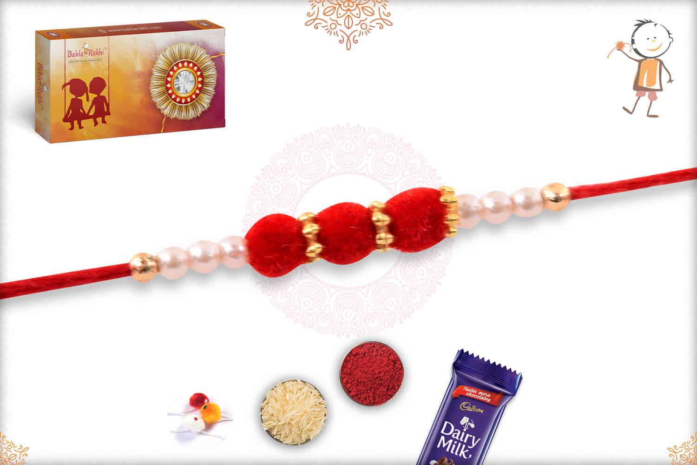 Delicate Red Velvet Bead Rakhi with Pearls 2
