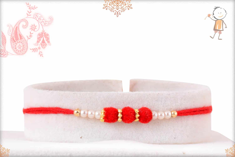 Delicate Red Velvet Bead Rakhi with Pearls 1