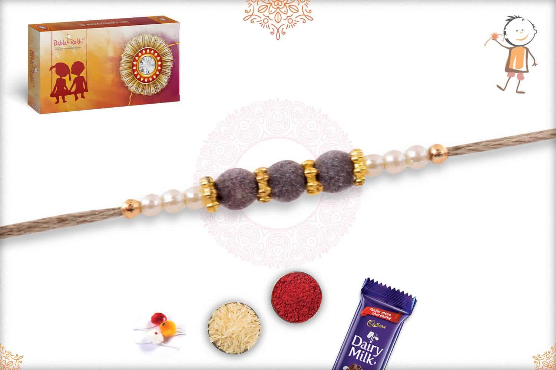 Delicate Gray Velvet Bead Rakhi with Pearls 2