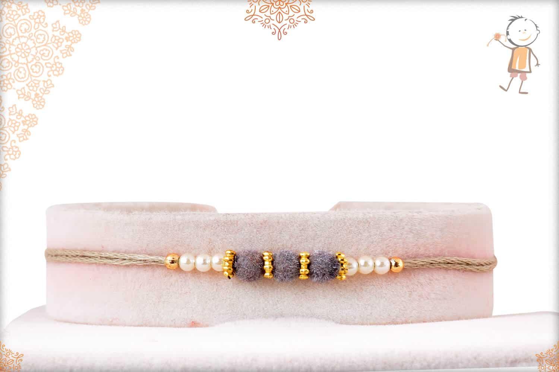 Delicate Gray Velvet Bead Rakhi with Pearls 1