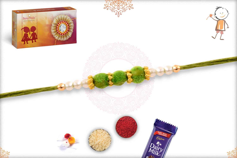 Delicate Green Velvet Bead Rakhi with Pearls 2