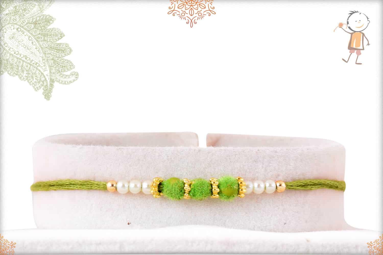Delicate Green Velvet Bead Rakhi with Pearls 1